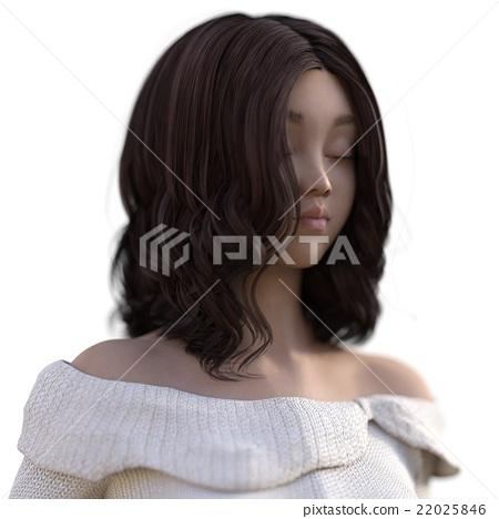 여성 헤어 스타일 perming3DCG 일러스트 소재 22025846