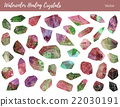 Watercolor, vector gemstones, healing crystals 22030191