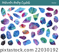 Watercolor, vector gemstones, healing crystals 22030192