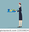 Airline hostess serving food. 22039834