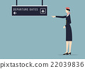 Air Hostess Indicates Departure Gate Sign Board. 22039836