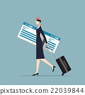 Airline Hostess Carrying a Big Boarding Pass. 22039844