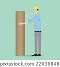 Architect with big wooden ruler. 22039848