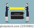 Airline Hostesses measuring trolley size. 22039862