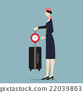 Airline Hostess Weighting Luggage With Scale. 22039863