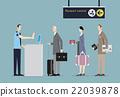 Air Travelers Queue at Border Passport Control. 22039878