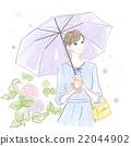 여성, 수국, 우산 22044902
