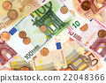 Background of the euro banknotes and coins 22048366