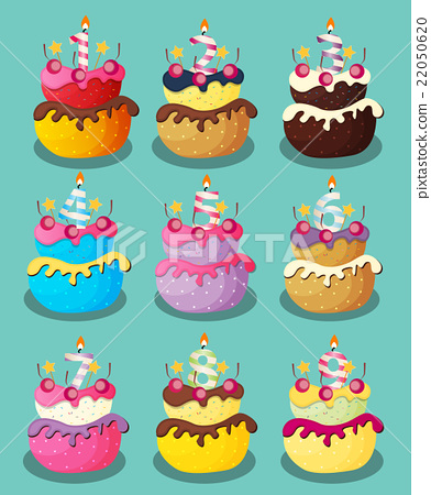 Happy Birthday Cake with Numbers Set Vector 22050620