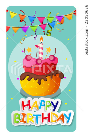 Happy Birthday Card Baner Background  with Cake 22050626