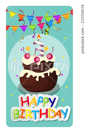 Happy Birthday Card Baner Background  with Cake 22050638