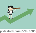 Business woman use telescope while stand on chart 22052205
