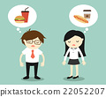 Businessman and business woman thinking about food 22052207