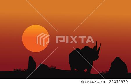 Rhino silhouette walking in savanna 22052979