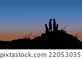 Meerkat silhouette in the hills 22053035