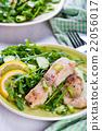 Steamed catfish filet with arugula salad 22056017