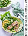 Steamed catfish filet with arugula salad 22056019