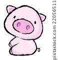 Unique Line Art style Pig Character.  Asian Zodiac 22056511