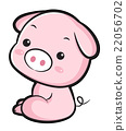 The Side sit down Pig Character.  Asian Zodiac 22056702