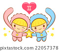 Sweet Style Twins Mascot. Gemini Constellation  22057378