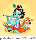 Baby Krishna with sacred cow 22059420