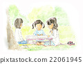 野餐 女孩 年輕的女孩 22061945