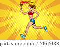 The girl athlete torchbearer sports fire summer 22062088