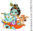 Baby Krishna with sacred cow 22062745