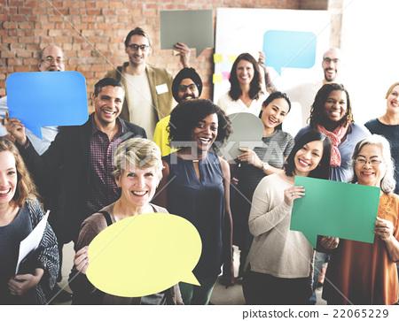 Stock Photo: Diverse People Communication Speech Bubble Concept