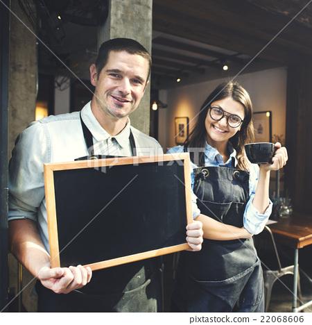 Cafe Barista Blackboard Waiter Waiteress Cheerful Concept 22068606