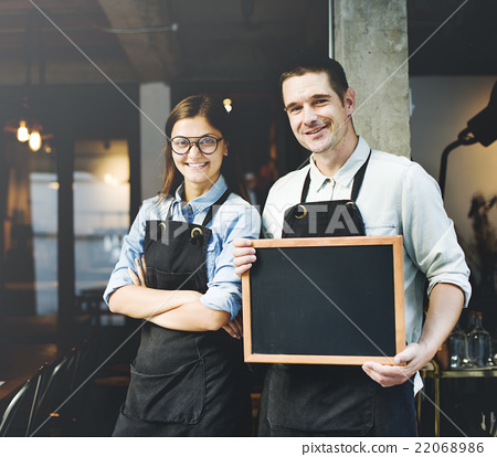 Cafe Barista Blackboard Waiter Waiteress Cheerful Concept 22068986