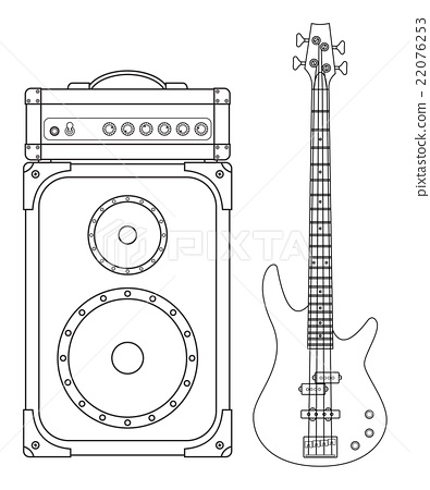 Electric Bass Guitar and Amplifier 22076253