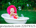 child bathing  with foam bath 22079325