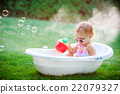 child bathing  with foam bath 22079327