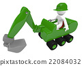 Green digger with construction worker 22084032