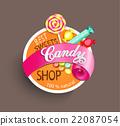 Candy shop label. 22087054