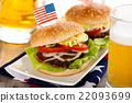 Hamburgers and beer. 22093699