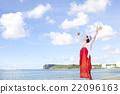 南国の風景と女性 22096163