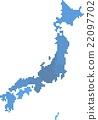 Blue circle shape Japan map on white background. 22097702