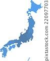 Blue circle shape Japan map on white background. 22097703