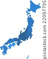 Blue square shape Japan map on white background.  22097705