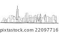 Free hand sketch of New York City skyline.  22097716