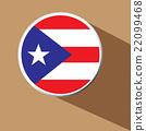 Vector - Puerto Rico button icon with long shadow  22099468