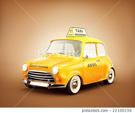 Cute retro yellow taxi 22100156
