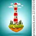 Fantastic lighthouse on a levitating island. 22100159