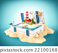 Cute lighthouse on the island in opened wooden box 22100168