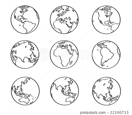 Collection of freehand world map sketch on globe stock collection of freehand world map sketch on globe gumiabroncs Images