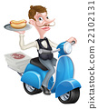 Cartoon Butler on Scooter Moped Delivering Hotdog 22102131