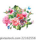 Summer hand drawing watercolor floral greeting 22102556