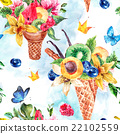 Summer hand drawing watercolor seamless pattern 22102559